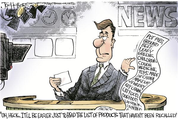 All those recalls © Joe Heller,Green Bay Press-Gazette,All those recalls, china, toys, tainted pet food, lead, makeup, meat recall, pot pies