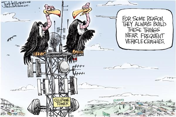 Cellphones © Joe Heller,Green Bay Press-Gazette,cellphones, driving, cell tower, vulture, driving and talking