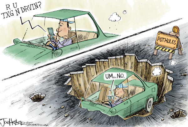 Joe Heller - Green Bay Press-Gazette - Potholes - English - potholes, road construction, texting, driving, cell, cellphone