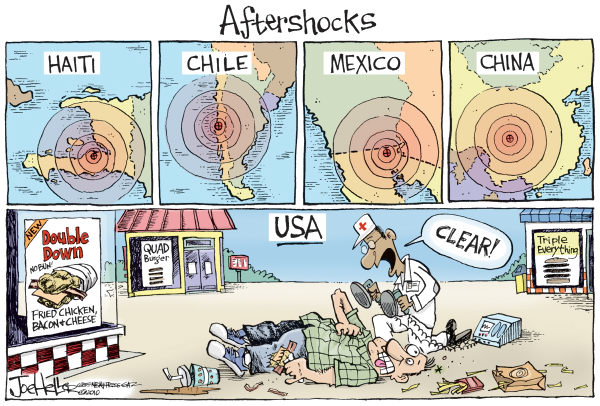 Double Down © Joe Heller,Green Bay Press-Gazette,double down, quake, earthquake, aftershocks, calories, chile, china, haiti, mexico, heart attack, fast food