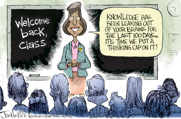 Back To School © Joe Heller,Green Bay Press-Gazette,back to school, education, leaks, oil, cap, thinking, vacation, students, teacher