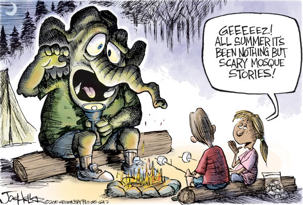 Joe Heller - Green Bay Press-Gazette - Scary Mosque - English - scary mosque, islam, ground zero, tea party, new york, gop, campfire, stories
