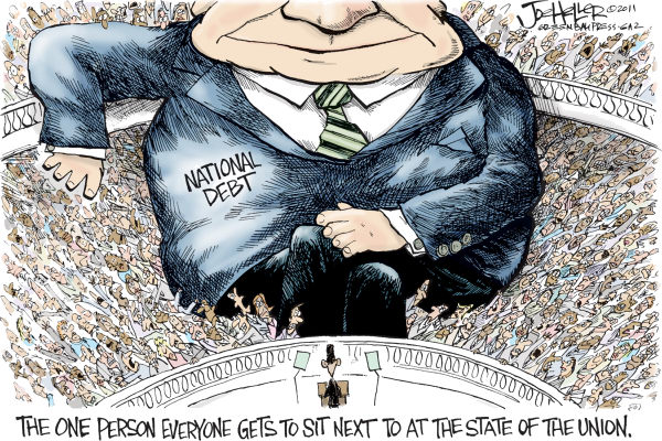 Joe Heller - Green Bay Press-Gazette - State of the Union - English - state of the union, obama, seating, deficits, debt, national, congress, civility
