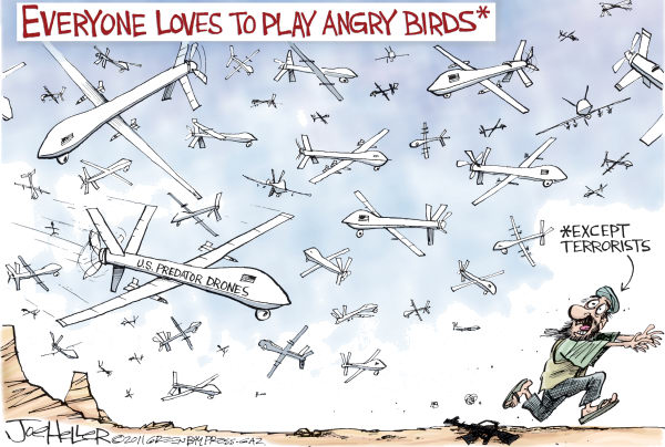 Joe Heller - Green Bay Press-Gazette - Angry Birds - English - angry birds, predator drones, terrorists, afghanistan, pakistan, war, remote control