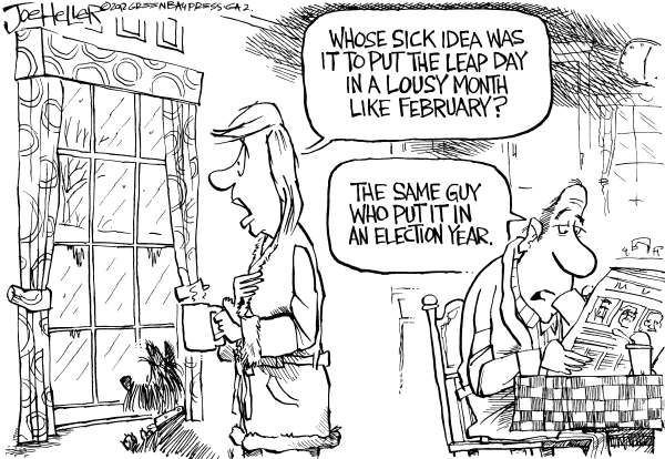 Joe Heller - Green Bay Press-Gazette - Leap Day - English - Leap day, year, February, winter, cold, election