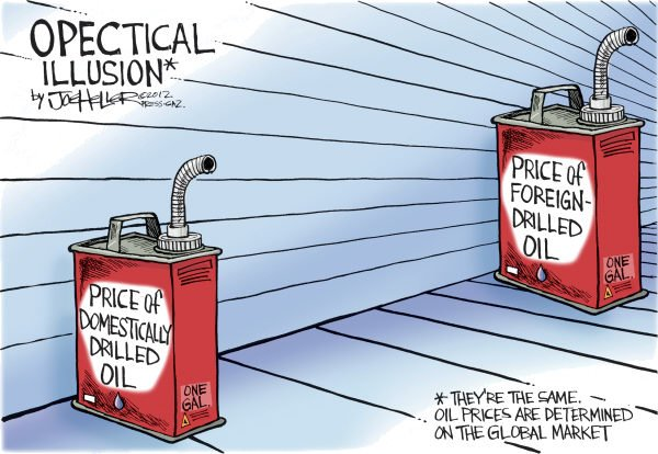 Optical Illusion © Joe Heller,Green Bay Press-Gazette,Optical Illusion, domestic, foreign, oil, petro, gas, prices, pump, drill baby, opec