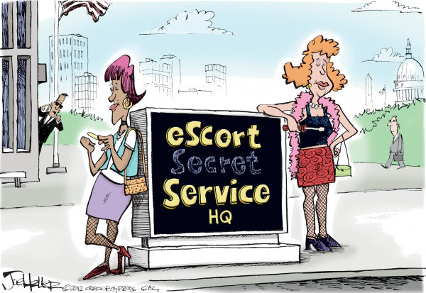 Secret Service © Joe Heller,Green Bay Press-Gazette,Secret Service, columbia, escort service, hookers, prostitutes, ethics scandal
