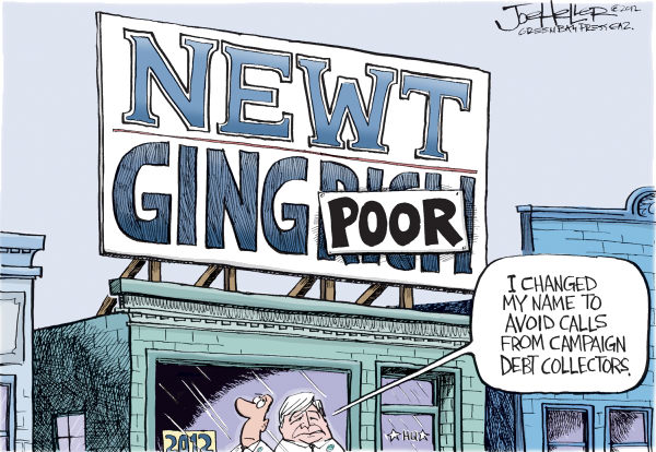 Gingrich © Joe Heller,Green Bay Press-Gazette,newt gingrich, campaign debt, quit, super pacs, donations