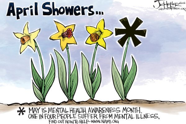 Mental Health Month © Joe Heller,Green Bay Press-Gazette,Mental Health Month, illness, wwwnamiorg, National Alliance on Mental Illness, Bipolar Disorder, Depression, PTSD, Schizophrenia, Borderline Personality Disorder, Eating Disorders , OCD, April showers, May flowers