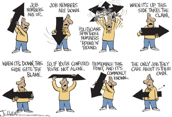 Joe Heller - Green Bay Press-Gazette - Job Numbers - English - Job Numbers, unemployment, jobless, walkers, economy, spin, election, candidates