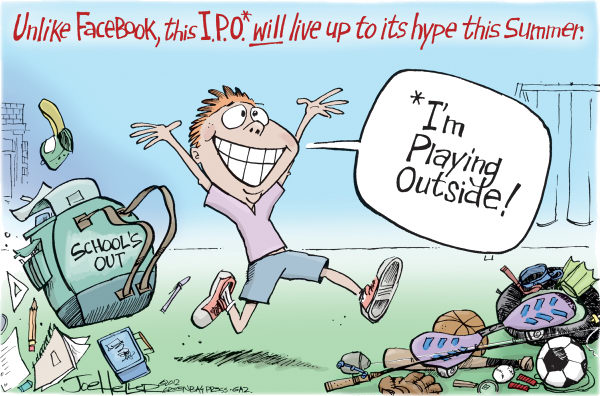 Joe Heller - Green Bay Press-Gazette - Alternative IPO - English - Alternative IPO, schools out, summer vacation, facebook, students, im playing outside, stocks, wall street
