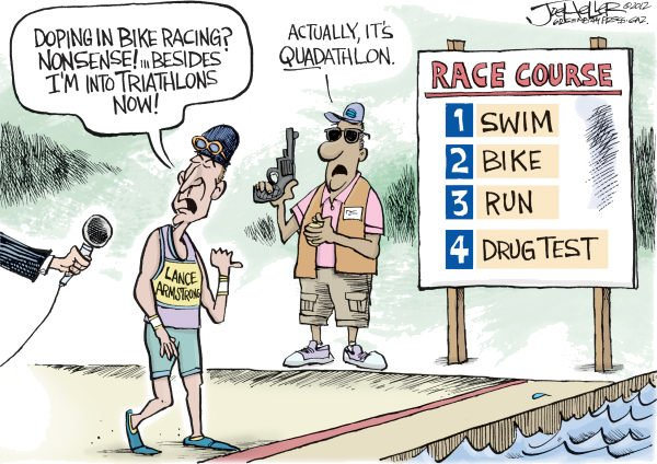 Joe Heller - Green Bay Press-Gazette - Lance Armstrong - English - Lance Armstrong, cycling, triathlon, doping, tour de france