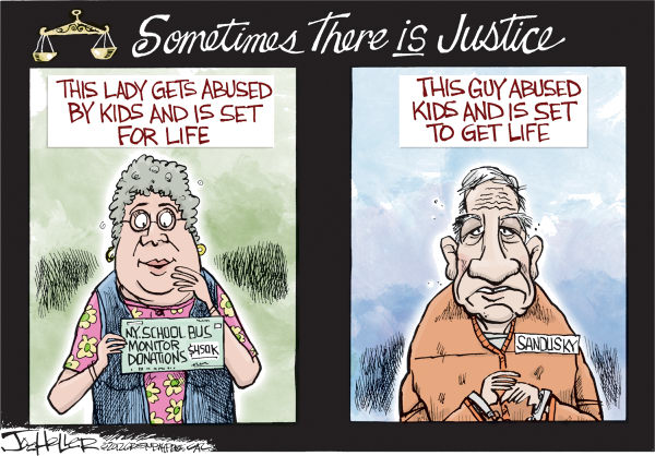 Joe Heller - Green Bay Press-Gazette - There is Justice - English - There is Justice, new york, bus monitor, Karen Klein, bully, jerry sandusky, child abuse, sexual assault, penn state, youtube video, viral