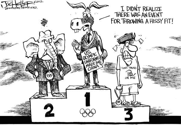 Joe Heller - Green Bay Press-Gazette - Made in China - English - Made in China, US Olympic team, London 2012, Ralph Laren, Opening ceremony, hissy fit, uniform, clothes