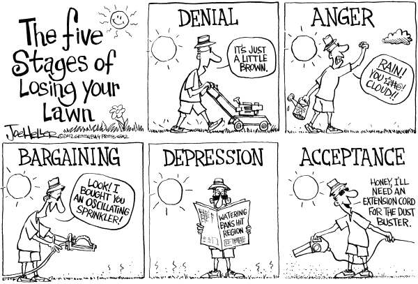 Joe Heller - Green Bay Press-Gazette - Drought - English - Drought, five stages of losing your lawn, grass, dry, dust, watering bans, climate change, global warming