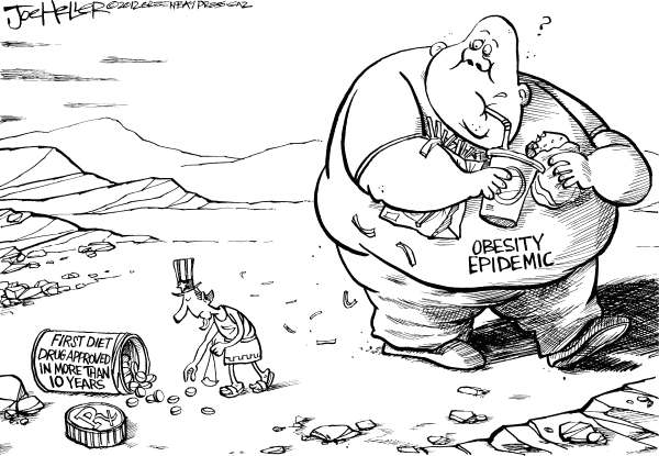 Joe Heller - Green Bay Press-Gazette - Diet Drug - English - Diet Drug, FDA, obesity epidemic, over wieght, Qsymia, david and goliath