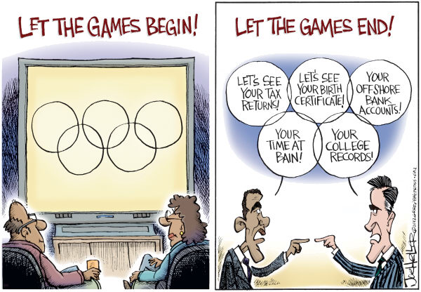 Joe Heller - Green Bay Press-Gazette - Olympic Games - English - olympic games, election 2012, mitt, obama, negative ads