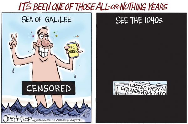 Joe Heller - Green Bay Press-Gazette - All-or-Nothing - English - All-or-Nothing, Sea of Galilee, Kevin Yoder, Mitt Romney, tax papers, release, 1