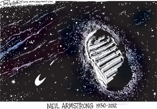 Joe Heller - Green Bay Press-Gazette - Neil Armstrong - English - Neil Armstrong, nasa, obit, moon, footprint