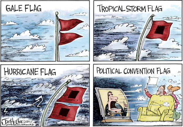 Joe Heller - Green Bay Press-Gazette - Hurricane Flags - English - Hurricane Flags, gales, tropical storms, warnings, gop convention, rnc