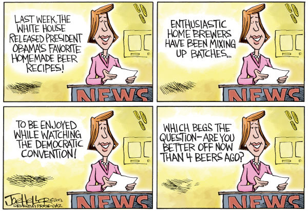 Joe Heller - Green Bay Press-Gazette - Convention Beer - English - Convention Beer, democratic, DNC, Charlotte, beer, brew,white house home brew, obama, are you better off