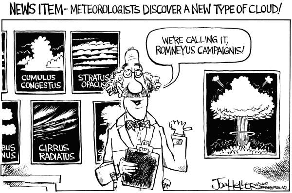 Joe Heller - Green Bay Press-Gazette - New Cloud Type - English - New Cloud Type, cirrus, cumulus, stratus, meteorologist, Mitt Romney, 47
