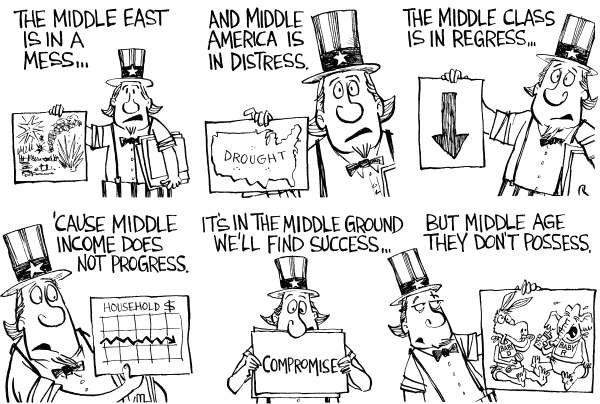 Joe Heller - Green Bay Press-Gazette - The Middle - English - middle east, income, class, ground, america, drought, congress, gridlock, uncle sam