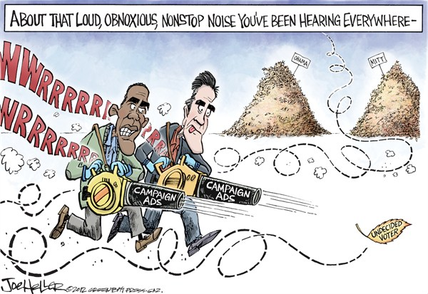Joe Heller - Green Bay Press-Gazette - Undecided Voter - English - Undecided Voter, Mitt Romney, Barack Obama, swing states, battleground, tossup