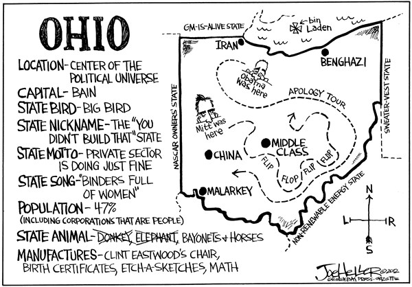 Joe Heller - Green Bay Press-Gazette - Ohio - English - Ohio, campaign 2012, mitt romney, barack obama, negative, super pacs, motto, song, big bird, didnt build that, binders