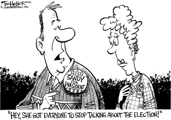 Joe Heller - Green Bay Press-Gazette - Sandy - English - sandy, hurricane, election, campaign 2012, ads