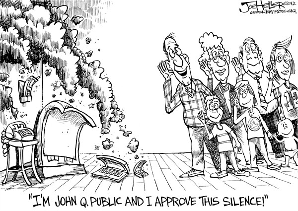 Joe Heller - Green Bay Press-Gazette - Silence - English - silence, end of election, campaign ads, over, robocalls, negative, i approve of this