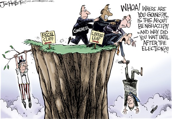 Petraeus Scandal © Joe Heller,Green Bay Press-Gazette,Petraeus Scandal,David,CIA,Spy,Central Intelligence agency,General,affair,adultry,resign,lovers leap,fiscal cliff, petraeus resigns