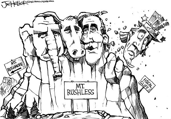 Joe Heller - Green Bay Press-Gazette - Fiscal Cliff - English - Fiscal Cliff,mt rushmore,mt rushless,uncle sam,fiscal cliff