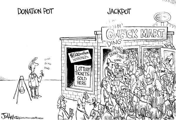 Joe Heller - Green Bay Press-Gazette - Jackpot - English - lottery, jackpot, donation pot, mega bucks, powerball, giving, food bank, pantry, salvation army, holiday giving