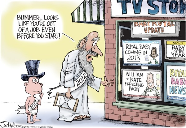 Joe Heller - Green Bay Press-Gazette - Royal Baby - English - royal baby, prince william, kate, england, new years, tv, Duchess of Cambridge, Duke, Middleton, pregnant