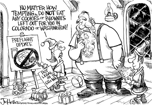 Joe Heller - Green Bay Press-Gazette - Legal Pot - English - Legal Pot, marijuana, medical, santa, Washington, Colorado, brownies, cookies, christmas