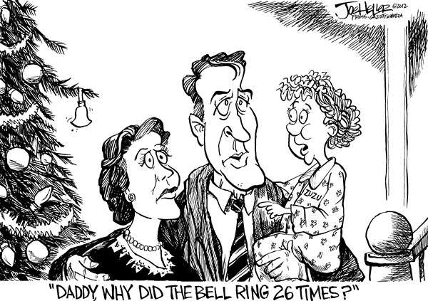 Joe Heller - Green Bay Press-Gazette - Snady Hook - English - sandy hook, nra, conneticut, newtown, children, massacre, gun control, debate, angel gets its wings, bell, ringing, its a wonderful life, zuzu, assault, rifle, shooting