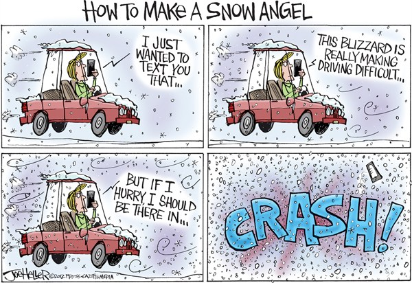 Joe Heller - Green Bay Press-Gazette - Snow Angel - English - snow angel, texting, driving, snowstorm, blizzard, crash, iphone, smart phone, how to make