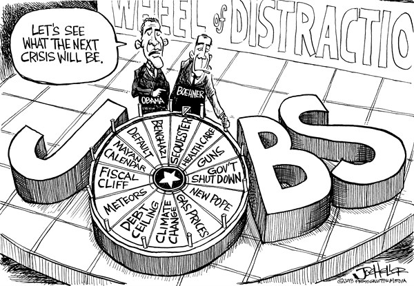 Joe Heller - Green Bay Press-Gazette - Jobs Crisis - English - Jobs Crisis,wheel of fortune, sequester, ceiling, fisal, cliff, boehner, obama, jobless, recession, unemployment, manufactured crisis