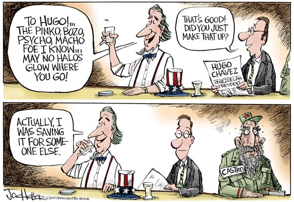 Joe Heller - Green Bay Press-Gazette - Hugo Chavez - English - Hugo Chavez, Venezuela, Fidel Castro, Cuba