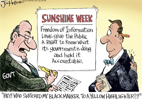 Joe Heller - Green Bay Press-Gazette - Sunshine Week - English - Sunshine Week, freedom of information, FOA, media, press