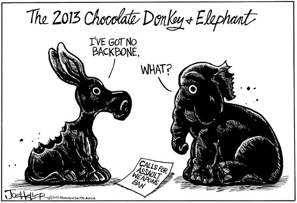 Joe Heller - Green Bay Press-Gazette - Assault Weapons - English - Assault Weapons, NRA, Congress, Chocolate, bunny, Donkey, Elephant, what, Easter candy, guns, control, ban, weapons, Newton