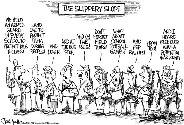 Joe Heller - Green Bay Press-Gazette - Guarding Schools - English - Guarding Schools, nra, guns, newtown, security, shootings, glee, assault rifles, ammo, clips