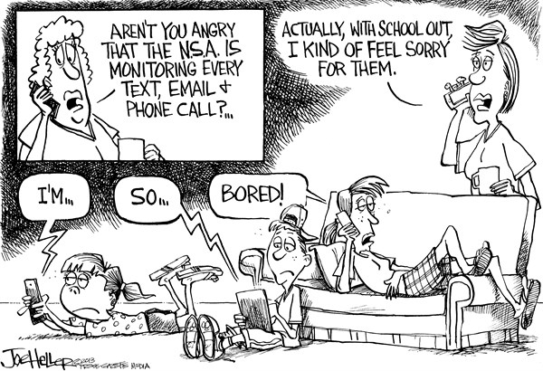 Joe Heller - Green Bay Press-Gazette - School's Out - English - Schools Out, NSA, cellphone, wiretaps, secrecy, privacy, bored, summer vacation