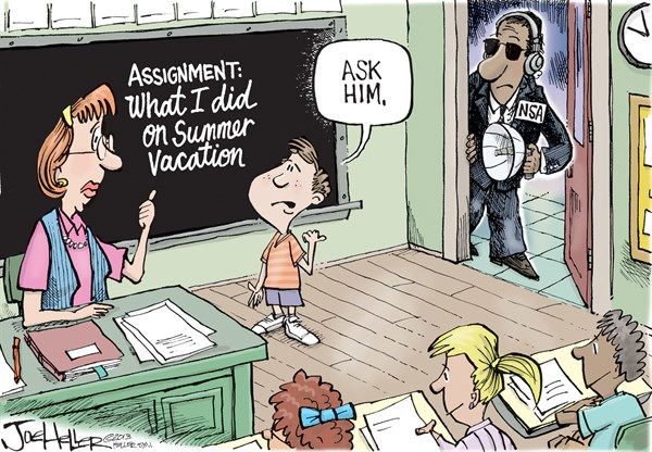 Joe Heller - Green Bay Press-Gazette - Back To School - English - Back To School, Summer vacation, NSA, spying, domestic