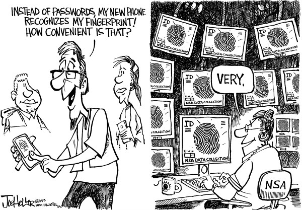Joe Heller - Green Bay Press-Gazette - Phone Fingerprint - English - smart Phone Fingerprint, iphone, nsa, security, password, reader