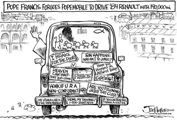 Joe Heller - Green Bay Press-Gazette - Pope's New car - English - Popes New car, pope Francis, Renault 4, popemobile, vatican