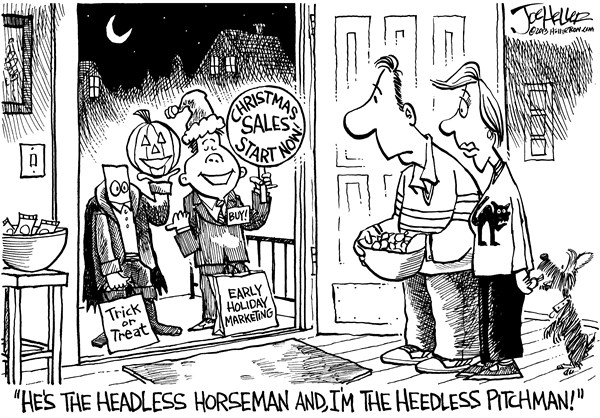 Joe Heller - Green Bay Press-Gazette - Early Holiday - English - Early Holiday, halloween, Christmas, shopping headless horseman, heedless pitchman, black friday