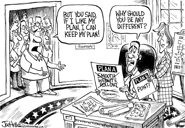 Joe Heller - Green Bay Press-Gazette - Plan B - English - plan B, obamacare, if you like you plan, AHC, promises, lie