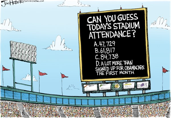 Signup Numbers © Joe Heller,Green Bay Press-Gazette,Signup Numbers, obamacare, rollout, exchange, first month, attendance, stadium